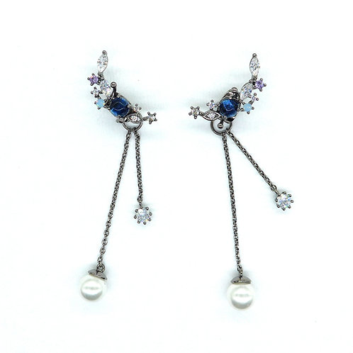 Climbers with Pearl Drop Earrings