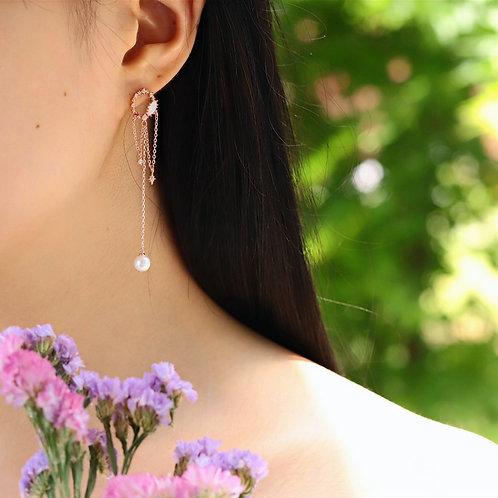 Dream Catcher Dangle Earrings with Pearl Drop - MOOII