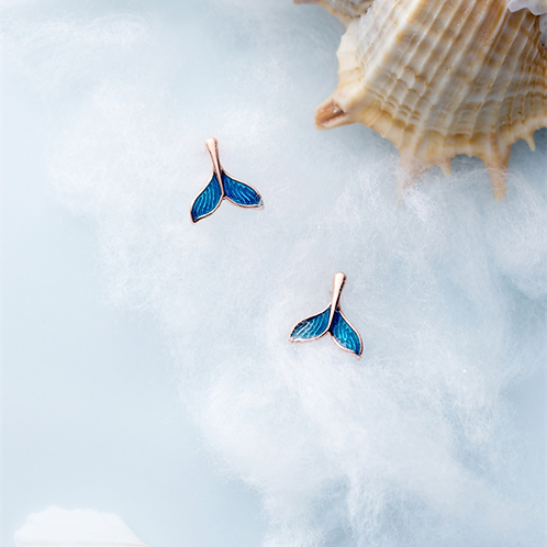 Fish Tail Sterling Silver Ear Studs - MOOII