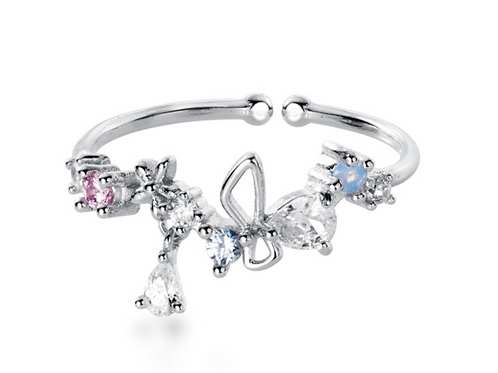 CZ Flower and Butterfly 925 Silver Ring - MOOII