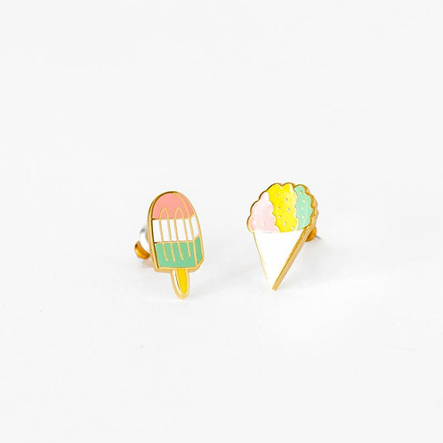 Yellow Owl Sno Cone and Popsicle Earrings