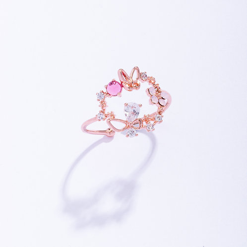 Butterfly and Crystal Bow Tie Big Wreath Ring - MOOII