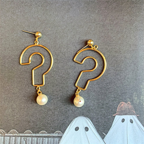 Golden Question Mark and Dangling Pearl Earrings