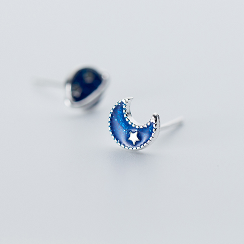 Asymmetric Moon Star Galaxy 925 Silver Studs - Mooii