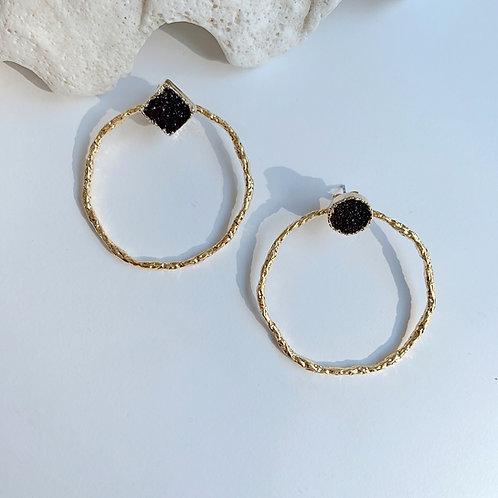 Purple Raw Crystal and Golden Hoop Earrings