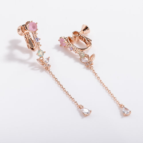 Multicolored CZ with Butterfly Long Stud Clip on Earring