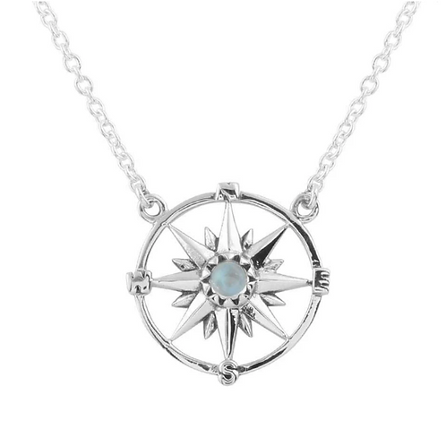 Guiding Light Compass Sterling Silver Necklace