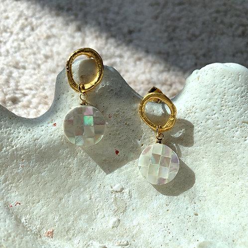 Shell Mosaic Dangle Earrings Gold