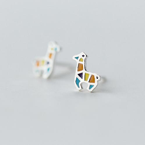 Cute Giraffe Sterling Silver Ear Studs - Mooii