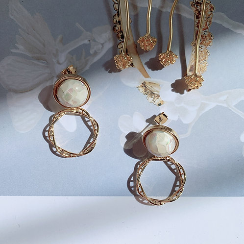White Shell and Golden Circle Dangling Earrings