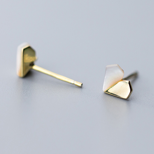 Gold and Shell Sterling Silver Ear Studs - MOOII