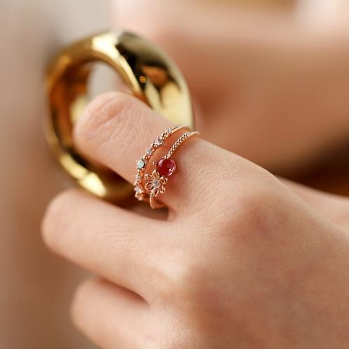 Double Band Micro Inlay Crystal Ring - MOOII