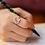 Thumbnail: Crecsent Moon Crystal Floral Ring - MOOII