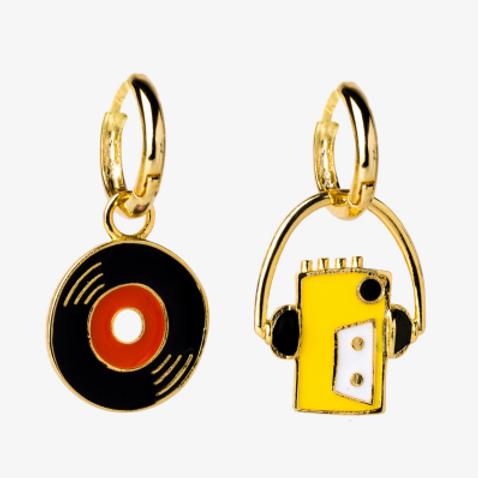 "Yellow Owl Workshop Walkman & 7"" Hoop Earrings"