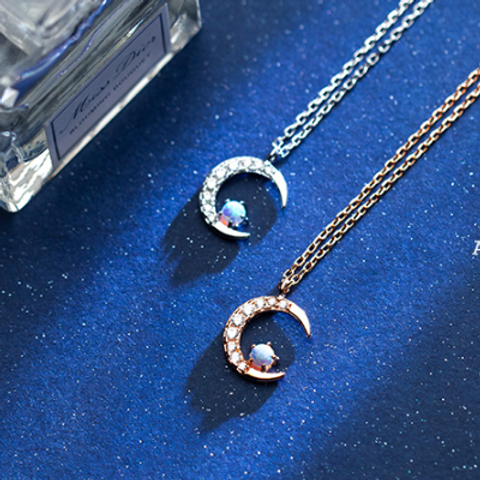 Sterling Silver  Crescent Moon Zircon Necklace - MOOII