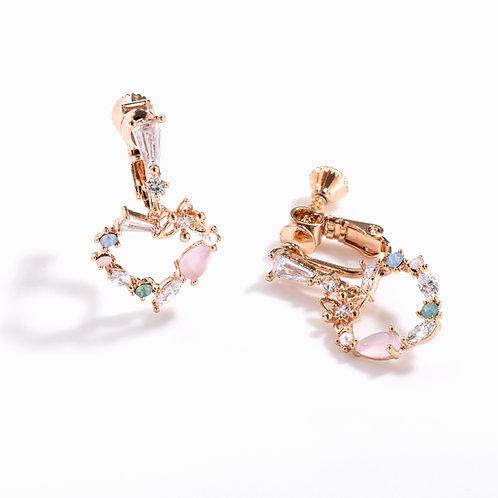 Love Heart Pendant Clip on Earrings - MOOII