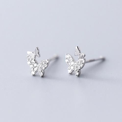 Butterflies Micro-Inlay Sterling Silver Earrings