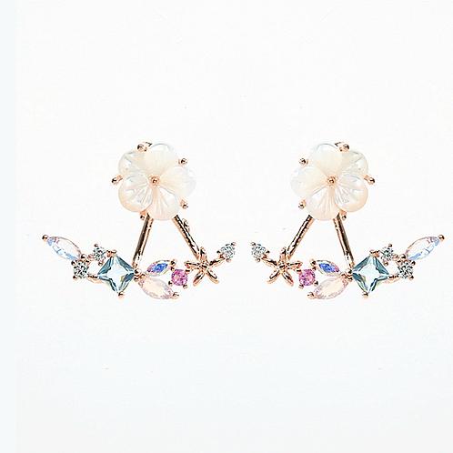 Sakura Stud with Gemstone Ear Jackets