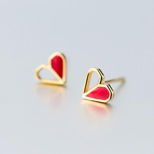 Love Heart Golden Earrings  - MOOII