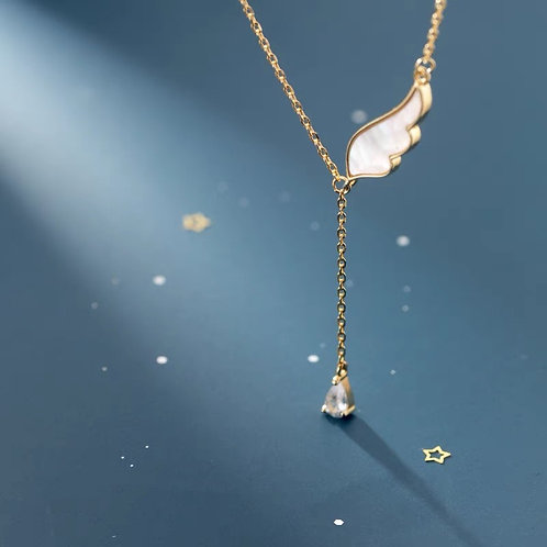 Angel Wing Drop Necklace - 925 Silver