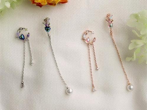 Heart Shape Pearl Stone Asymmetric Pearl Drop Earring - MOOII