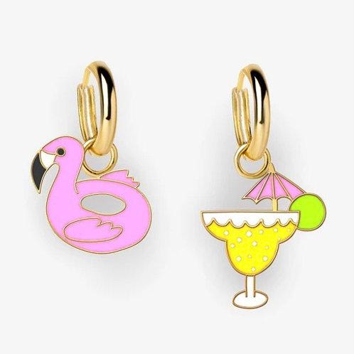 Margarita & Flamingo Float Hoop Earrings