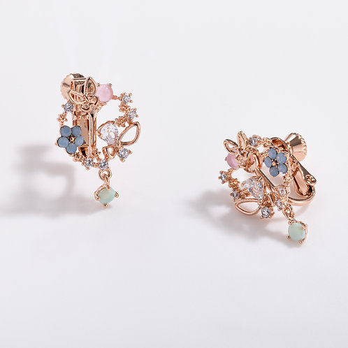Blossoming Garland Stud Clip on Earring - MOOII