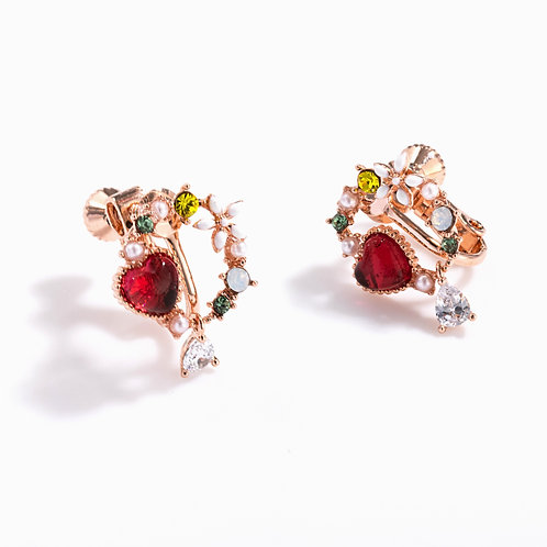 Love Heart and Wreath Clip On Earrings - MOOII