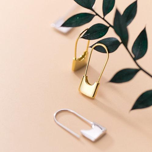 Sterling Silver Padlock Earrings - MOOII
