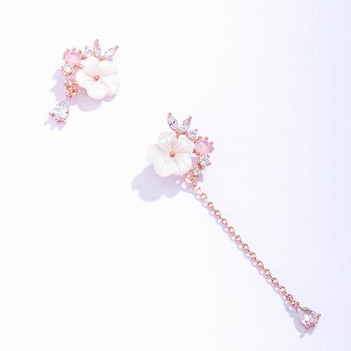 Sakura Earring with Asymmetric Crystal Drop - MOOII