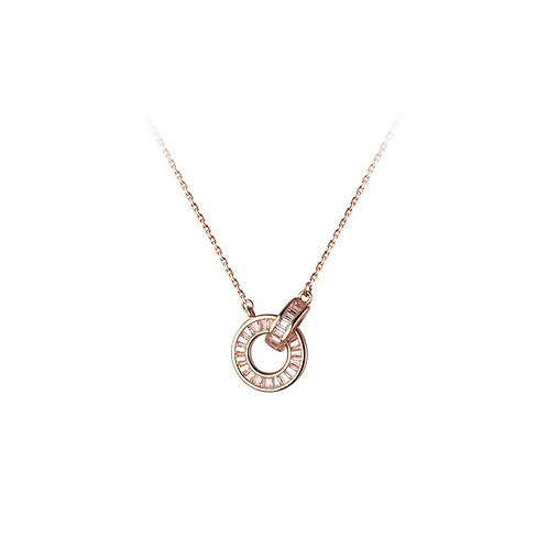 Interlocking Rose Gold Circles Necklace - MOOII