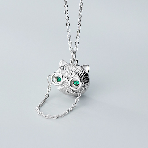 Cat Wearing Glasses Necklace - MOOII