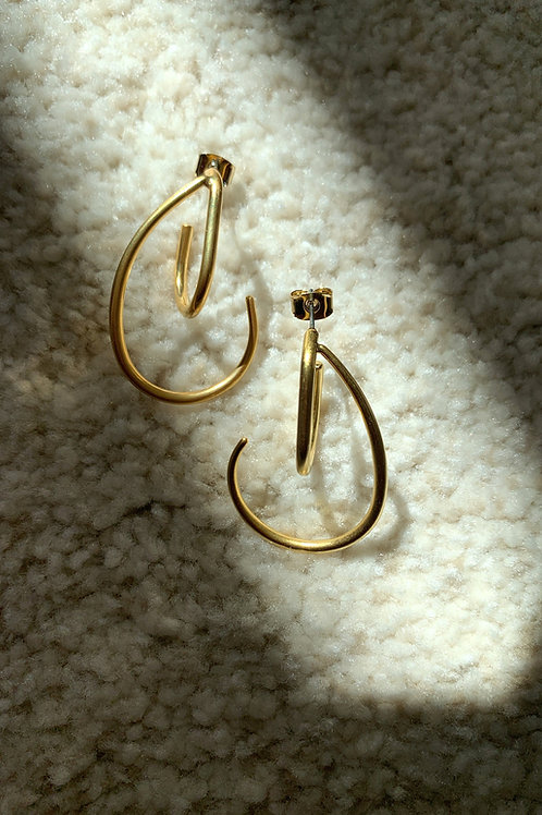 Abstract Golden Double Hooks Earrings