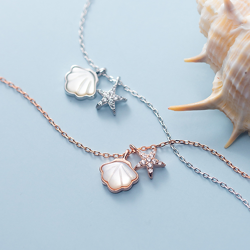 Sterling Silver Shell and Starfish Necklace - MOOII