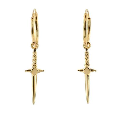 Gold Cosmic Dagger Sterling Silver Earrings