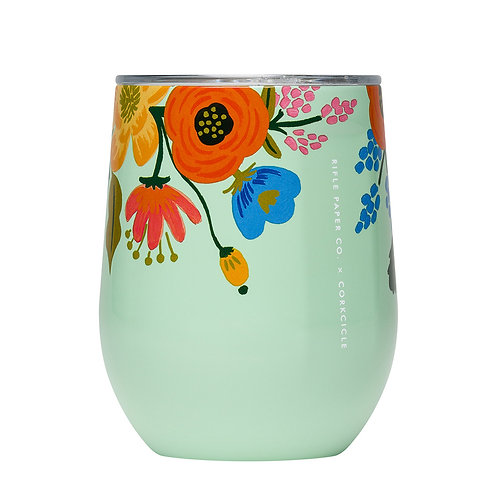 Corkcicle: Rifle Paper Stemless 355ml - Mint Lively Floral
