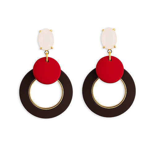 Red Circle and Double Brown Hoops - MOOII