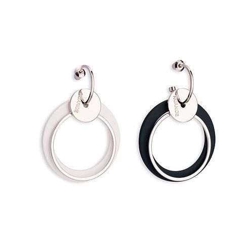 Black and White Disc Asymmetric Earring - MOOII