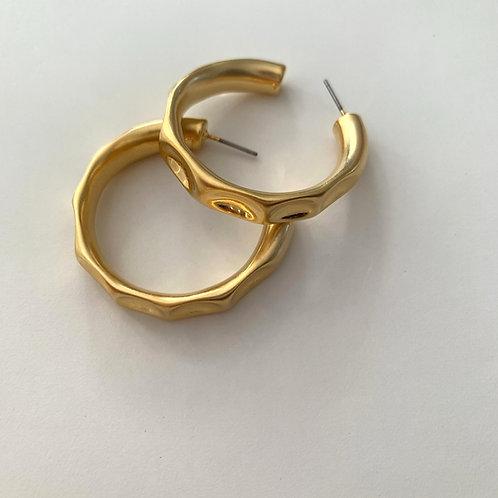 Golden Multi Surfaced Earring Hoops
