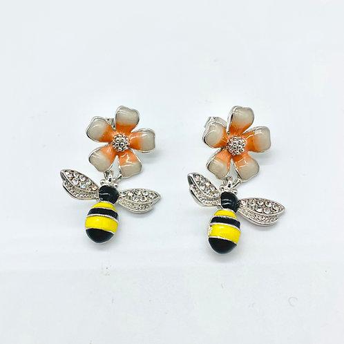 Floral Honey Bee Earrings