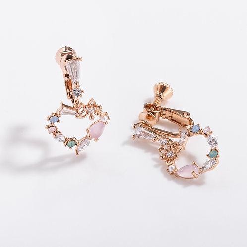 MOOII Multi-Crystal Heart-Shaped Dangle Clip on Earring