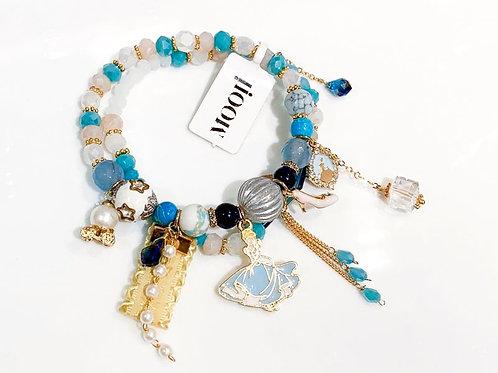 MOOII Bracelet Set Blue and Pink Beads with Cinderella Pendant