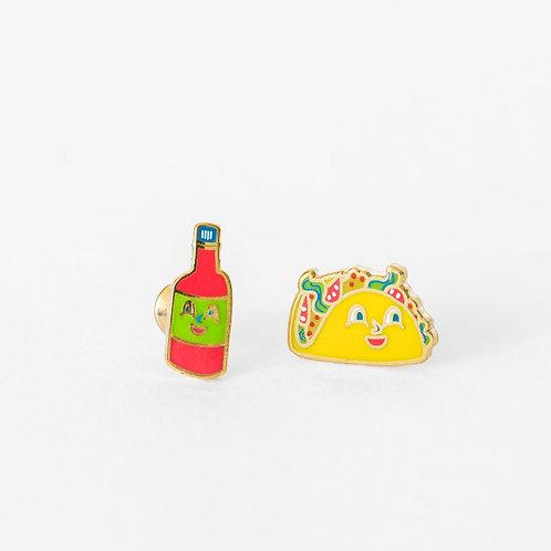 Yellow Owl Taco & Hot Sauce Earrings