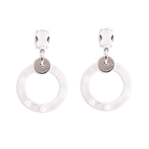 White Double Hoops Earrings - MOOII