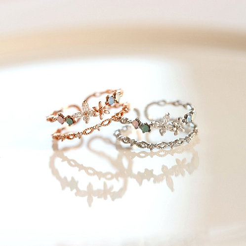 Double Line Butterfly Garden Ring - MOOII