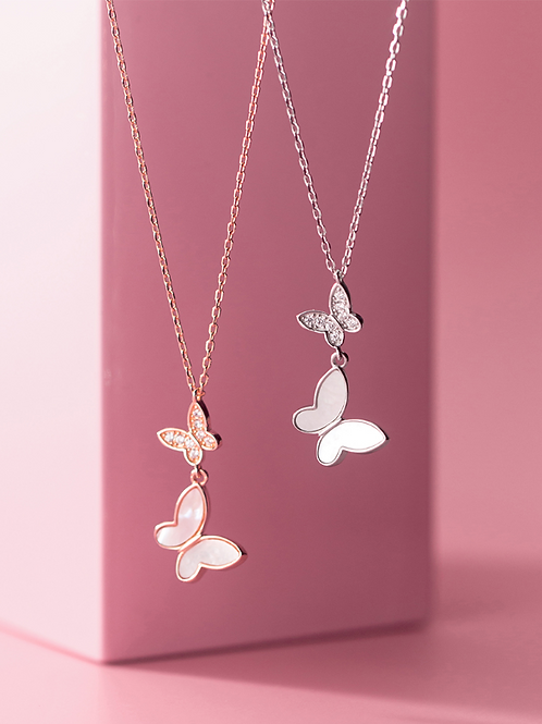 Sterling Silver Double Butterfly Necklace - MOOII