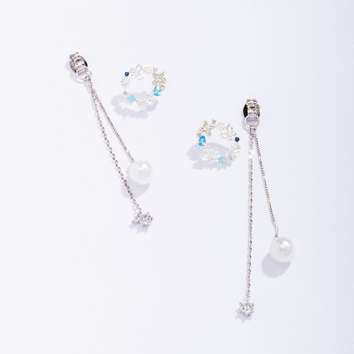 Garland and Pearl Drop Front and Back Earring