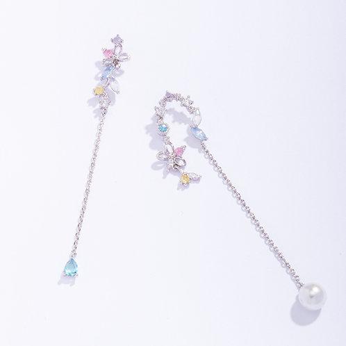Horseshoe Shaped Muil-Crystal Dangle Earrings