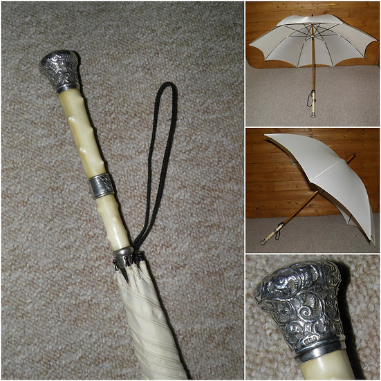 Antique Hallmarked 1890 Repousse Silver & Ivory - Cream Coloured Canopy Umbrella