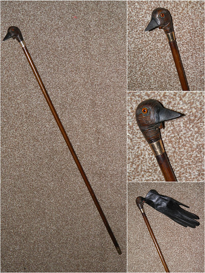 Antique GP Swagger Stick With Cackling Goose Head Silk Glove Holder Top - 69cm